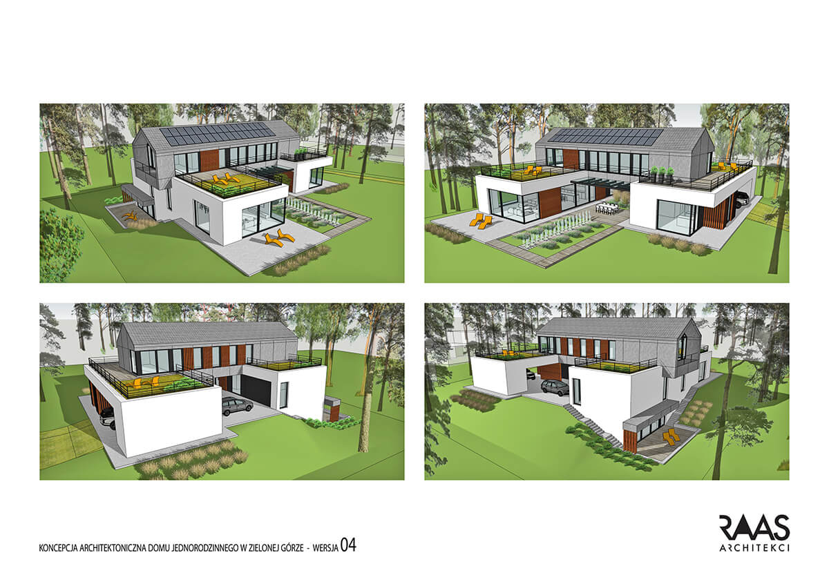 koncepcja domu jednorodzinnego wraz z ogrodem
