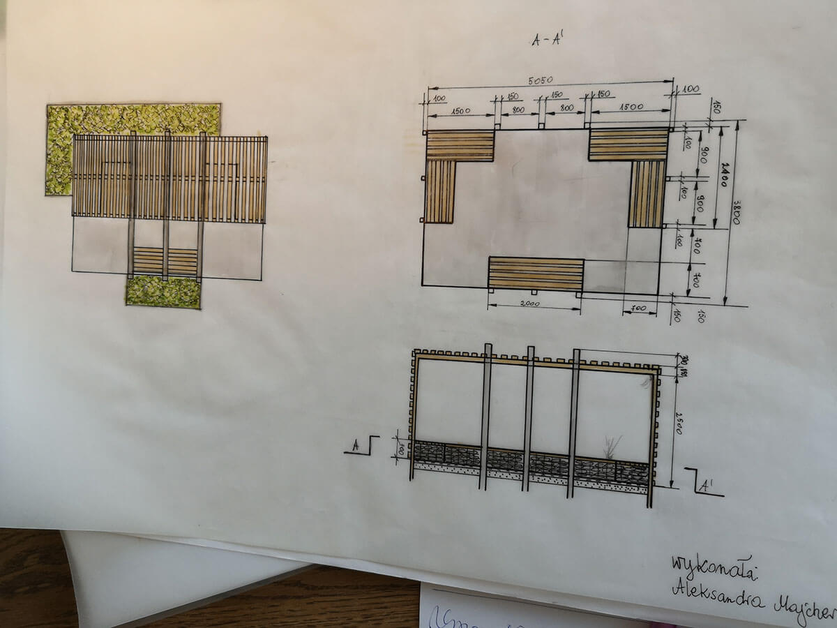 Projekt ogrodu - szkic techniczny
